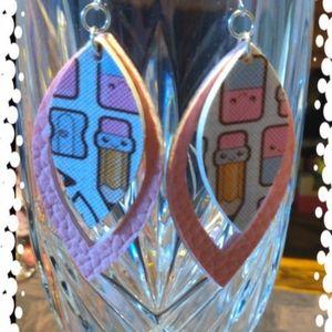 Jewelry - 3/$20 Back to School faux leather teacher earrings
